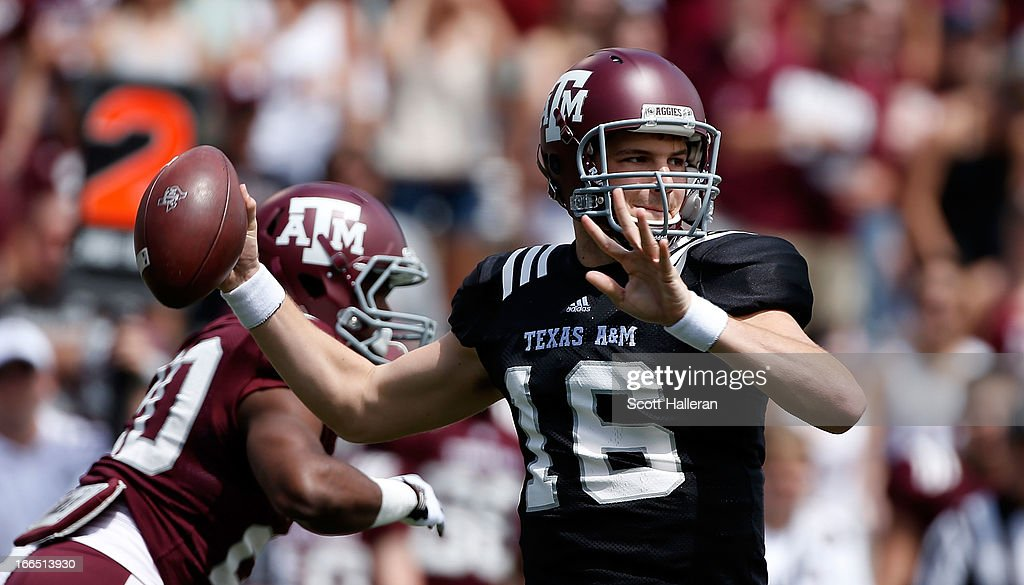 Texas A&M Aggies quarterback Matt Joeckel #16 looks to pass during the Maroon & White spring football game at Kyle Field on April 13, 2013 in College Station, Texas.