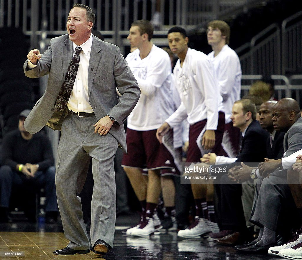 Texas A&M coach Billy Kennedy tries to inspire his squad during the second half of the CBE Hall of Fame Classic against St. Louis in Kansas City, Missouri on Monday, November 19, 2012.
