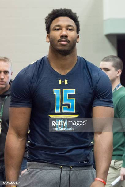 Texas AM defensive end Myles Garrett answers questions from members of the media during the NFL Scouting Combine on March 4 2017 at Lucas Oil Stadium...