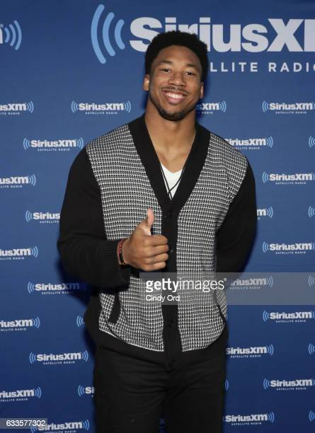 Texas AM defensive end Myles Garrett visits the SiriusXM set at Super Bowl 51 Radio Row at the George R Brown Convention Center on February 2 2017 in...