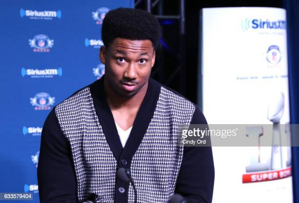 Texas AM defensive end Myles Garrett visits the SiriusXM set at Super Bowl LI Radio Row at the George R Brown Convention Center on February 2 2017 in...