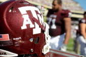 Texas AM helmet during a game against the Baylor Bears at Kyle Field on October 15 2011 in College Station Texas The Texas AM Aggies defeated the...