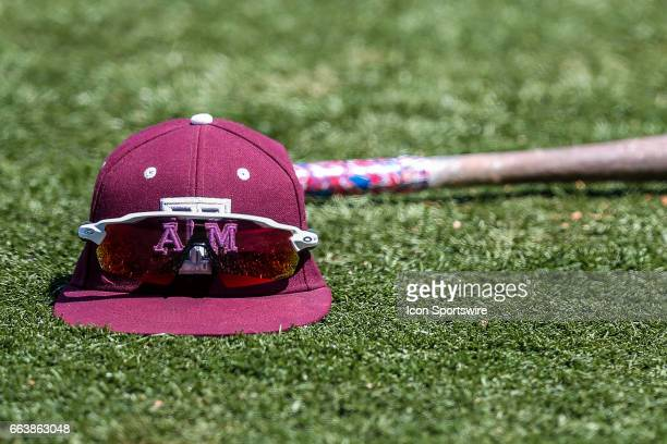 Texas AM players hat sits on the field during the game between Texas AM and LSU on April 01 2017 at Alex Box Stadium in Baton Rouge LA