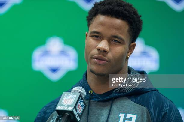 Texas AM strong safety Justin Evans answers questions from the media during the NFL Scouting Combine on March 5 2017 at Lucas Oil Stadium in...