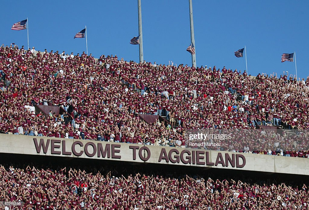 Texas A&M University Aggies fans, sometimes referred to as the 12th Man, watch the game against the University of Oklahoma Sooners on November 6, 2004 at Kyle Field in College Station, Texas. The Sooners defeated the Aggies 42-35.
