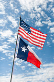 USA, Texas, American and Texas flags against cloudy sky