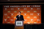 Texas athletic director Steve Patterson makes comments before introducing Shaka Smart as the new head coach of the Texas Longhorns men's basketball...