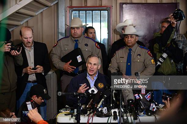 Texas Attorney General Greg Abbott briefs the media on April 18 2013 in West Texas about the massive explosion at a fertilizer factory killed as many...
