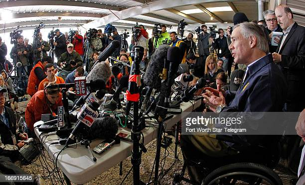 Texas Attorney General Greg Abbott speaks to hundreds of media members in West Texas on Thursday April 18 2013 A explosion at a fertilizer plant...