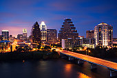 USA, Texas, Austin, city skyline, elevated view, night
