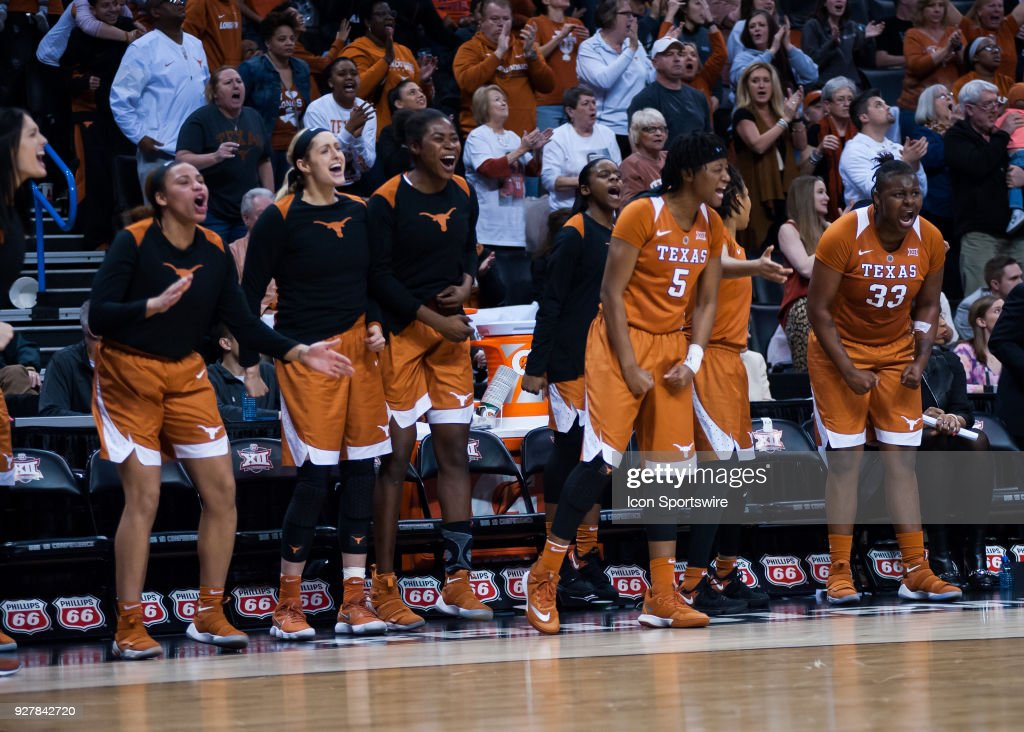 Texas bench celebrating after a big play versus Baylor during the Big 12 Women's Championship on March 05, 2018 at Chesapeake Energy Arena in Oklahoma City, OK.