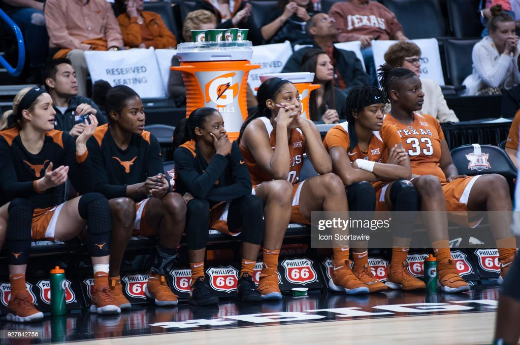 Texas bench realizing that the game is almost over versus Baylor during the Big 12 Women's Championship on March 05, 2018 at Chesapeake Energy Arena in Oklahoma City, OK.