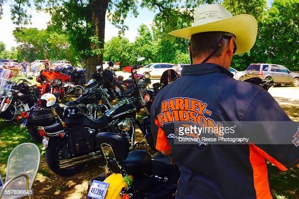 Texas biker at a BBQ hangout 42015