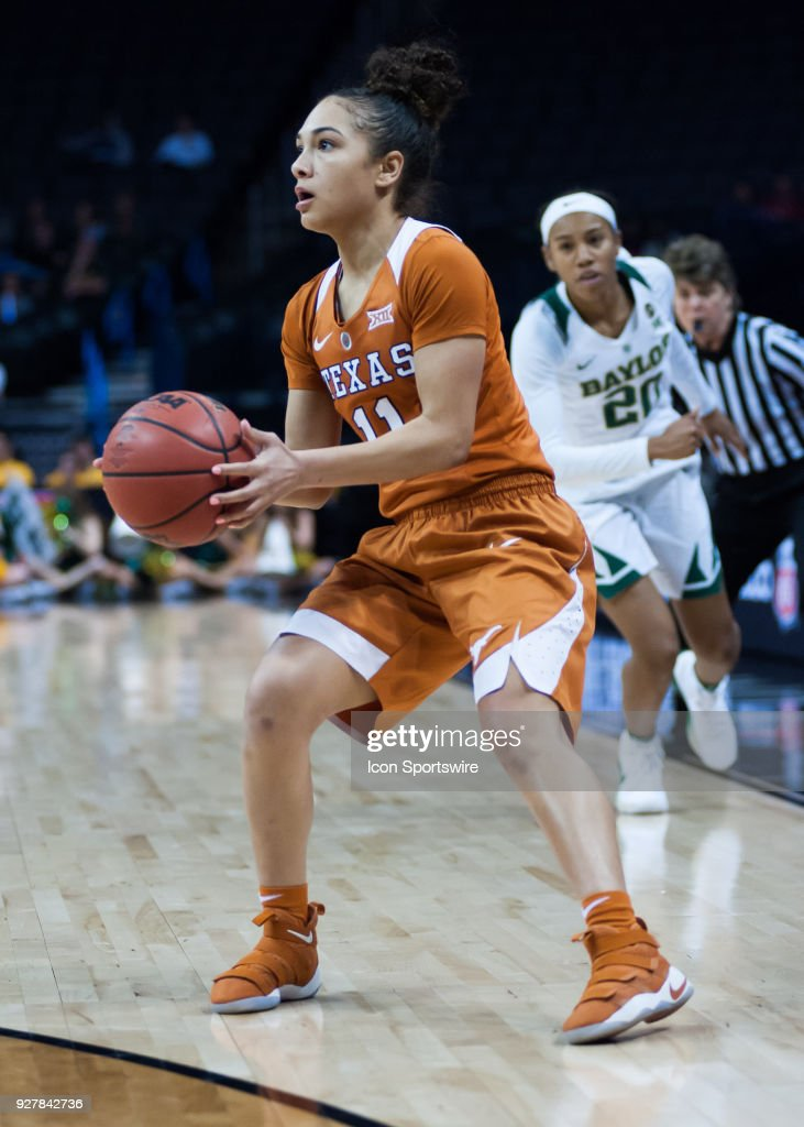 Texas (11) Brooke McCarty eyeing the rim versus Baylor during the Big 12 Women's Championship on March 05, 2018 at Chesapeake Energy Arena in Oklahoma City, OK.