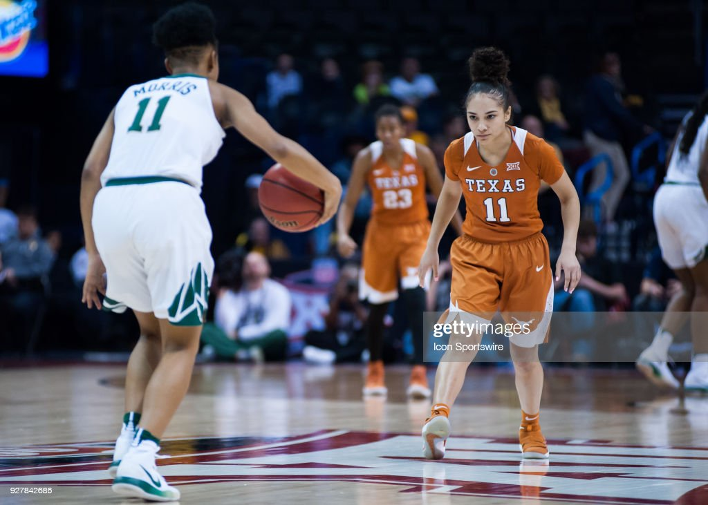 Texas (11) Brooke McCarty playing defense on Baylor (11) Alexis Morris during the Big 12 Women's Championship on March 05, 2018 at Chesapeake Energy Arena in Oklahoma City, OK.