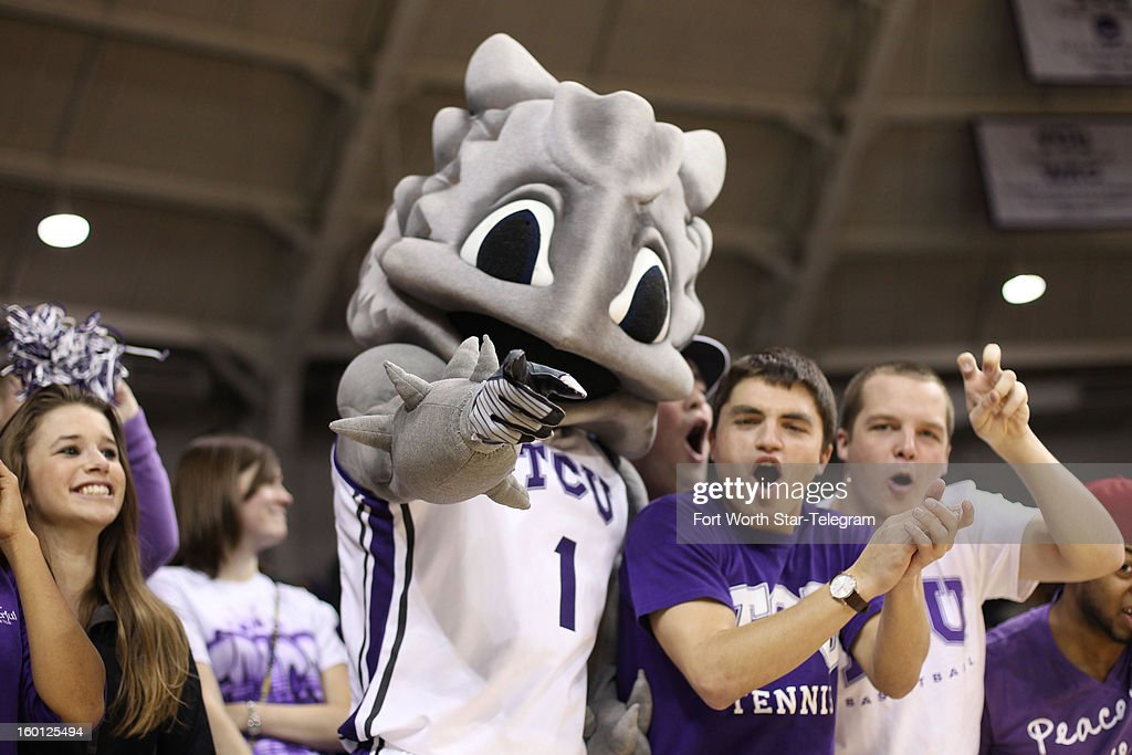 Texas Christian mascot Super Frog cheers with fans during the first half against Baylor at Daniel-Meyer Coliseum in Fort Worth, Texas, on Saturday, January 26, 2013.