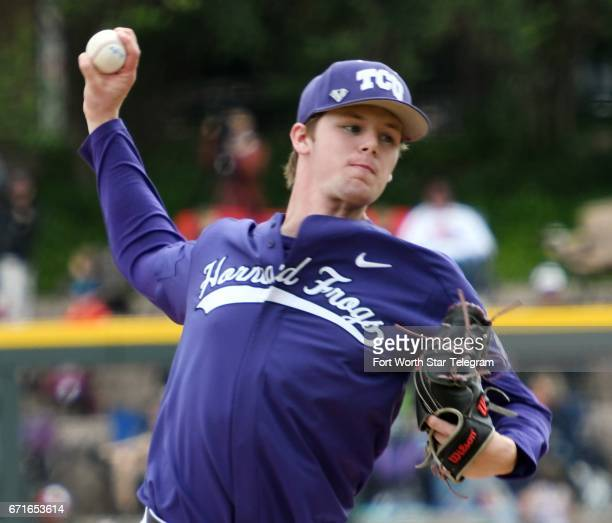 Texas Christian pitcher Austin Boyles throws against Baylor in the fouth inning on Saturday April 22 at Lupton Stadium in Fort Worth Texas Baylor won...