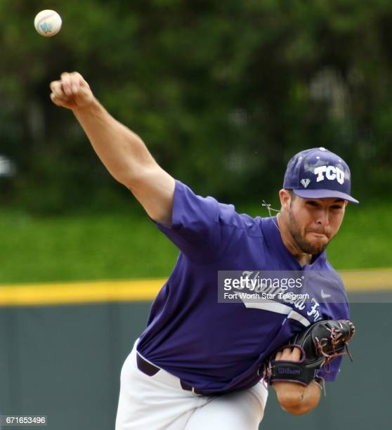 Texas Christian pitcher Mitchell Traver throws against Baylor in the first inning on Saturday April 22 at Lupton Stadium in Fort Worth Texas Baylor...