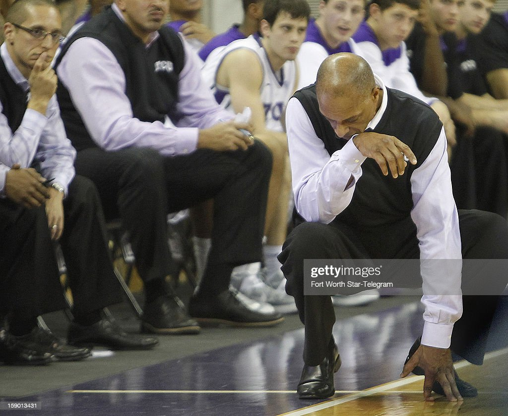 Texas Christian University coach Trent Johnson reacts as TCU loses to Texas Tech in the final minute of play at Daniel-Meyer Coliseum in Fort Worth, Texas, Saturday, January 5, 2013. Texas Tech defeated TCU, 62-53.