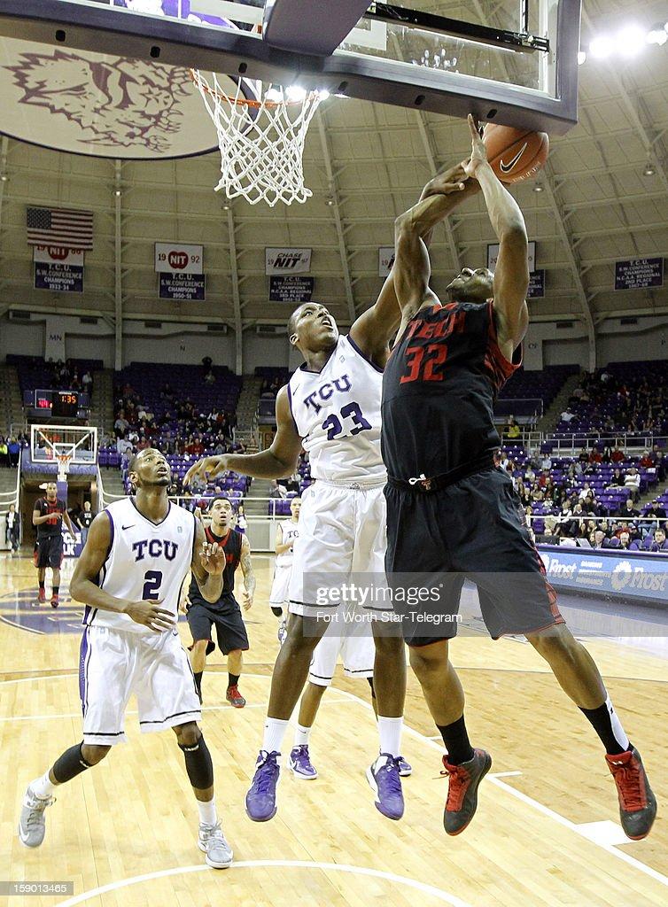 Texas Christian University Devonta Abron (23) blocks a shot by Texas Tech's Jordan Tolbert (32) in the second half at Daniel-Meyer Coliseum in Fort Worth, Texas, Saturday, January 5, 2013. Texas Tech defeated TCU, 62-53.
