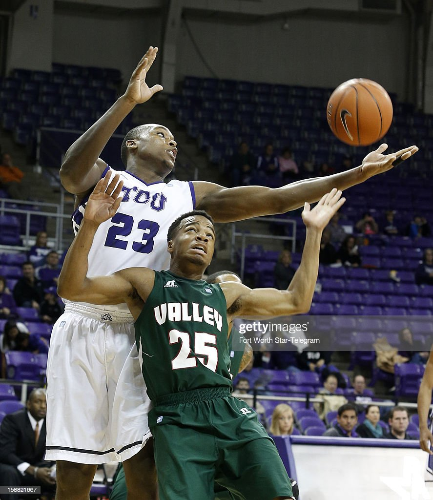 Texas Christian's Devonta Abron grabs a rebound away from Mississippi Valley State's Blake Rolling at Daniel Meyer Coliseum on Sunday, December 30, 2012, in Fort Worth, Texas.