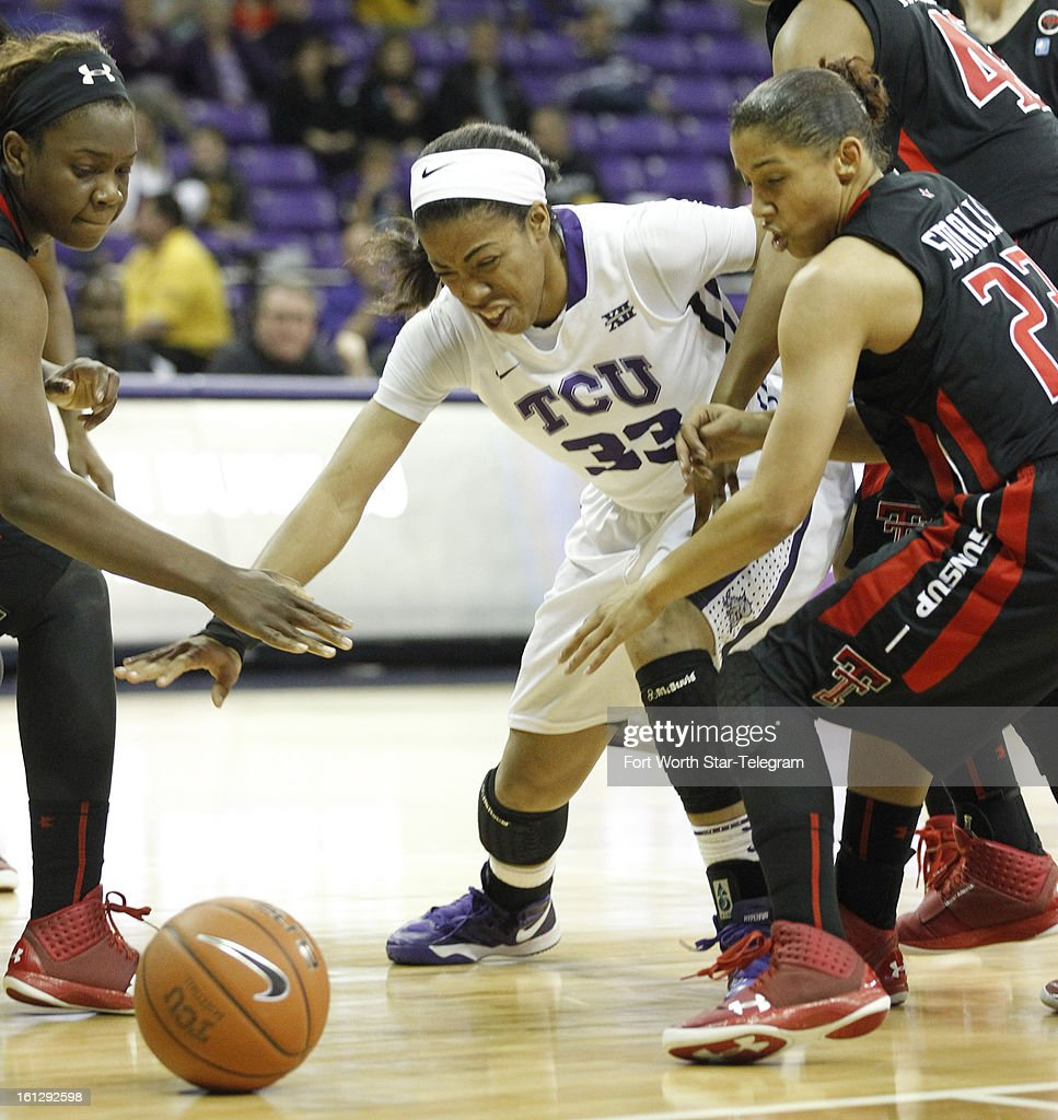 Texas Christian's Donielle Breaux tries to get to a loose ball ahead of Christine Hyde, left, and Monique Smalls of Texas Tech at Daniel-Meyer Coliseum in Fort Worth, Texas on Saturday, February 9, 2013. Tech defeated TCU, 64-46.