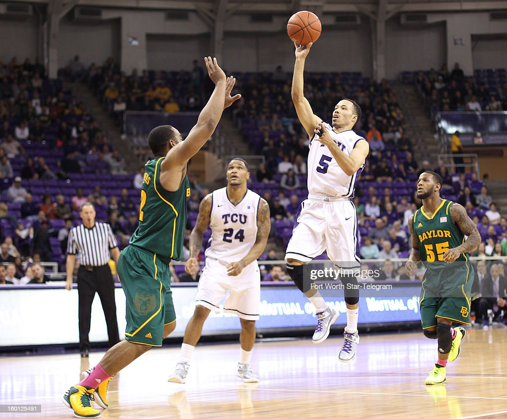 Texas Christian's Kyan Anderson (5) shoots against Baylor's Rico Gathers, left, during the first half at Daniel-Meyer Coliseum in Fort Worth, Texas, on Saturday, January 26, 2013. Baylor won, 82-56.
