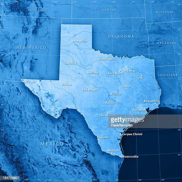 Texas Cities Topographic Map
