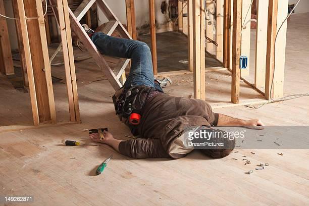USA, Texas, Dallas, Handyman falling of ladder