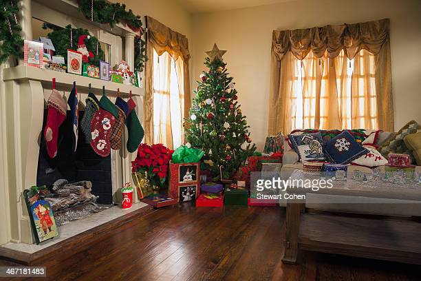 USA, Texas, Dallas, Living room decorated for Christmas