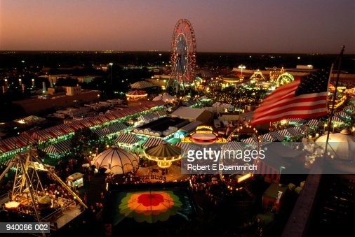 USA, Texas, Dallas, Texas State Fair, fairground at dusk, elevated