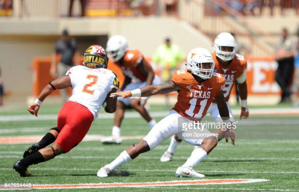 Texas DB P J Locke lll defends during game between the Texas Longhorns and the Maryland Terrapins on September 2 2017 at Darrell K RoyalTexas...
