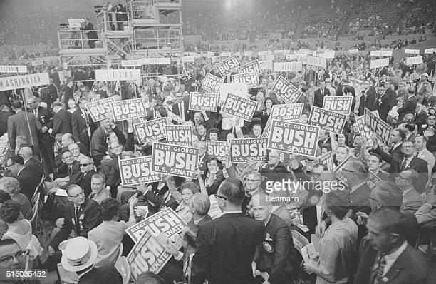Texas delegates stage a demonstration on the floor of the Cow Palace for George Bush Senatorial candidate