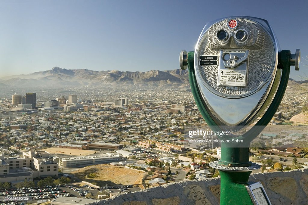 USA, Texas, El Paso, coin operated binoculars looking toward Mexican city of Juarez