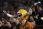 Texas fan shows his spirit as the Texas Longhorns take on the Michigan Wolverines in the 91st Rose Bowl Game at the Rose Bowl on January 1 2005 in...