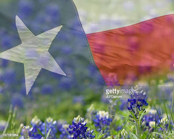 Texas Flag overlaid on Bluebonnets