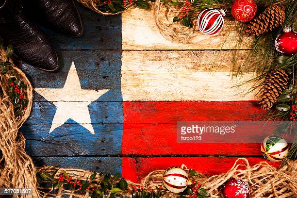 Texas flag, wooden. Christmas decorations, pine cones, ornaments, cowboy boots.