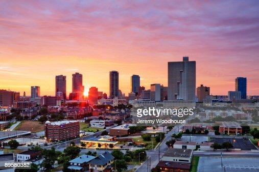 Texas, Fort Worth skyline at sunrise