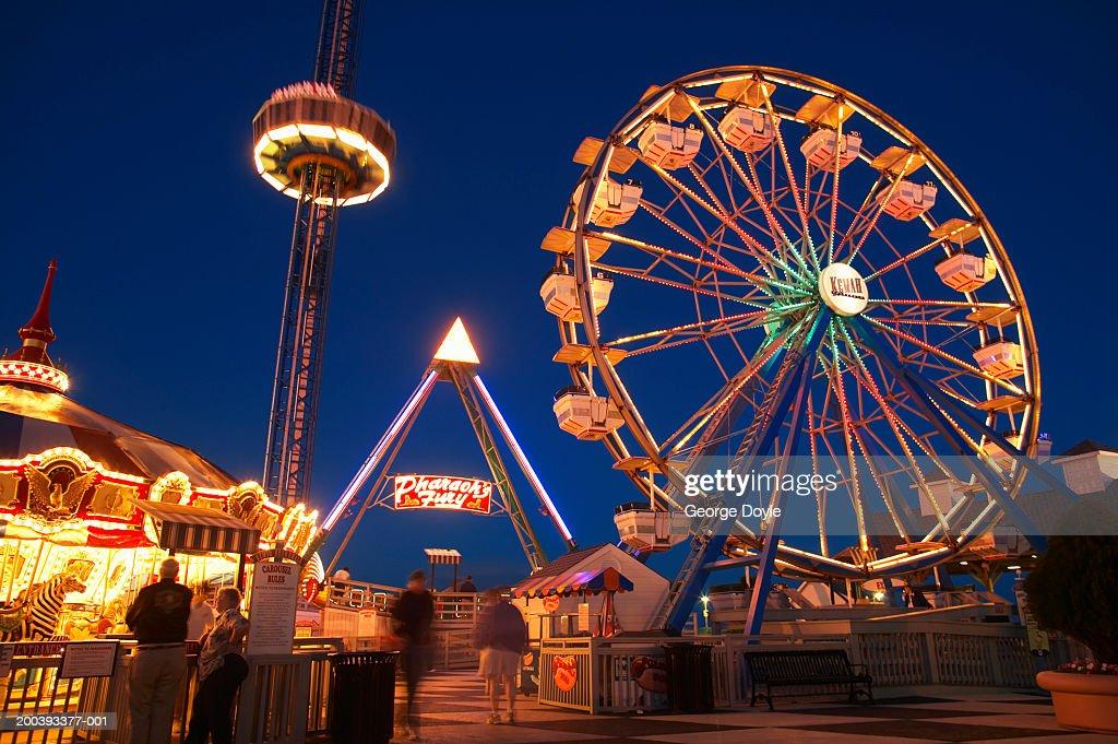 USA, Texas, Galveston Bay, Kemah Boardwalk, night : Stock Photo