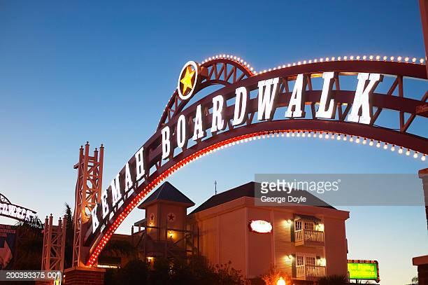 USA, Texas, Galveston Bay, 'Kemah Boardwalk' sign, dusk