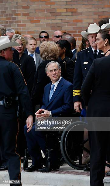 Texas Gov Greg Abbott attends the funeral for Harris County Sheriff Deputy Darren Goforth at Second Baptist Church on September 4 2015 in Houston...