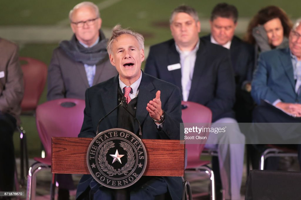 Texas Gov. Greg Abbott speaks at a memorial service for the victims of the shooting at the First Baptist Church of Southerland Springs at the Floresville High School on November 8, 2017 in Floresville, Texas. On November 5, a gunman, Devin Patrick Kelley, killed 26 people at the church and wounded 20 more when he opened fire during a Sunday service.