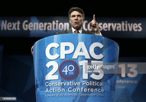 Texas Gov Rick Perry addresses the 40th annual Conservative Political Action Conference March 14 2013 in National Harbor Maryland A slate of...