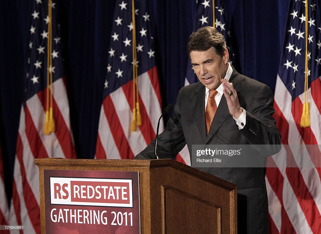 Texas Gov. <a gi-track='captionPersonalityLinkClicked' href=/galleries/search?phrase=Rick+Perry+-+Politician&family=editorial&specificpeople=175872 ng-click='$event.stopPropagation()'>Rick Perry</a> speaks during his announcement that he will run for the Republican presidential nomination on August 13, 2011 in Charleston, South Carolina. As nine other GOP presidential candidates competed for votes in the Iowa Straw Poll, Perry made his announcement at the RedState Gathering, a convention of conservative bloggers, before moving on to a campaign event in New Hampshire.
