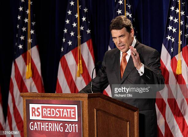 Texas Gov Rick Perry speaks during his announcement that he will run for the Republican presidential nomination on August 13 2011 in Charleston South...