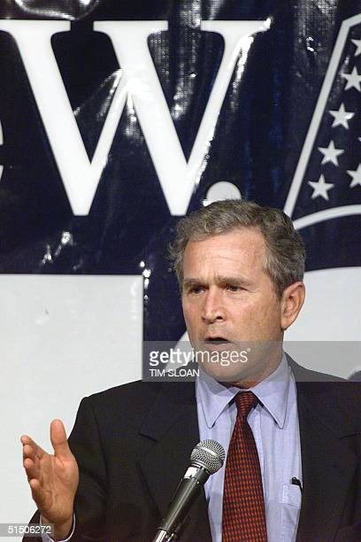 Texas Governor George W Bush addresses a political rally saying 'I'm running for President' 12 June Des Moines Iowa Bush is describing himself as a...