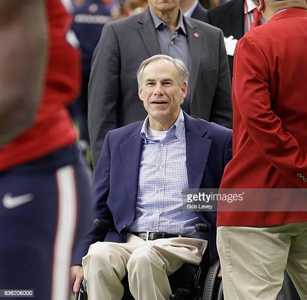 Texas Governor Greg Abbott attends the game at NRG Stadium on December 18 2016 in Houston Texas