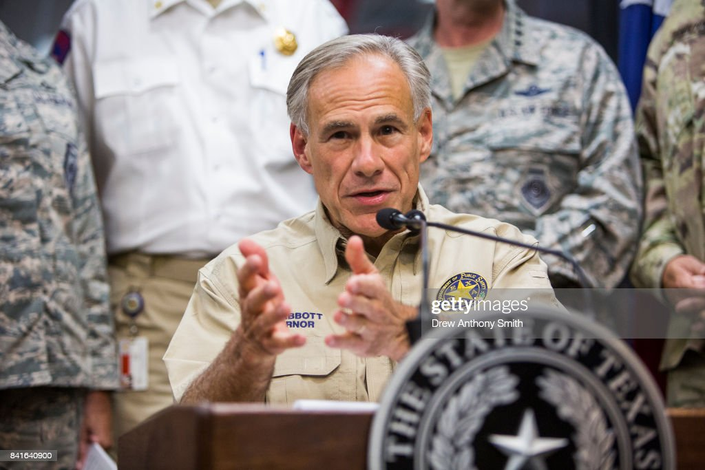 Texas Governor Greg Abbott delivers a briefing to the public on Hurricane Harvey at the Texas Department of Public Safety building on September 1, 2017 in Austin, Texas. Hurricane Harvey has caused wide spread flooding and mass evacuations in the Houston area.