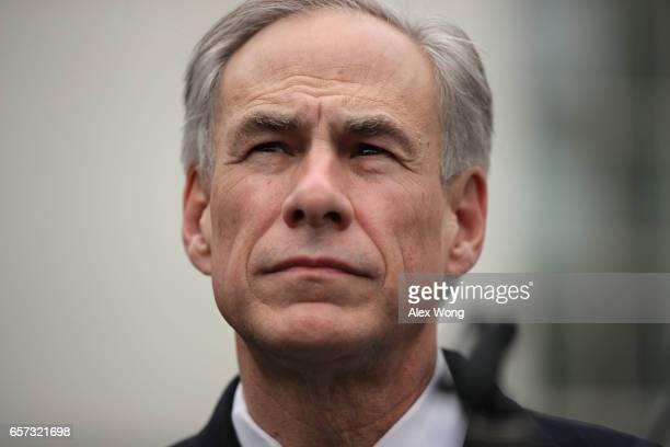 Texas Governor Greg Abbott participates in a news briefing outside the West Wing after an Oval Office announcement with President Trump March 24 2017...