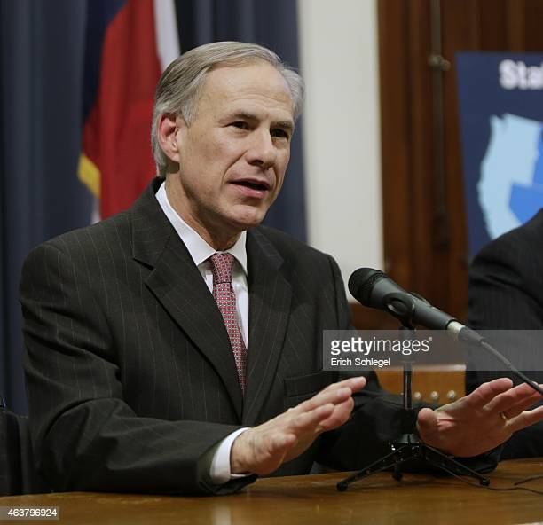 Texas Governor Greg Abbott speaks at a joint press conference February 18 2015 in Austin Texas The press conference addressed the United States...